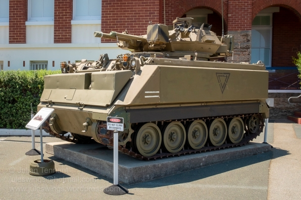 M113A1 MRV (Medium Reconnaissance Vehicle) which coupled the turret from the Scorpion FV101 light tank with the M113A1 Armoured Personnel Carrier for use as a fire support vehicle for Cavalry units. Between 1979 and 1996 a total of 45 M113A1 MRVs served in the Australian Army. Photo: Julian Tennant
