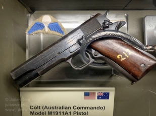 Colt Model M1911A1 Pistol issued to Australian Special Forces and Commandos during WW2. This pistol was used by Private Frederick Mills when serving with the 1st Australian Parachute Battalion. Photo: Julian Tennant