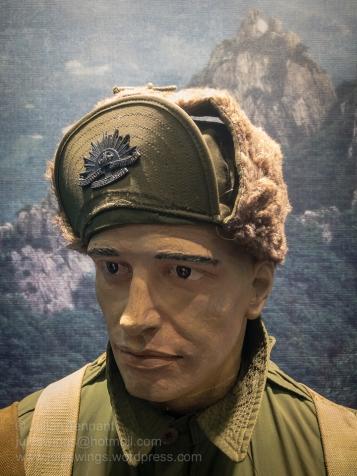 Korea c1952. Australian soldier wearing the distinctive Rising Sun cap badge on the peak of his US issue cap. Photo: Julian Tennant