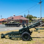 25 pounder gun and Centurion tank in the background at the Army Museum of Western Australia. Photo: Julian Tennant