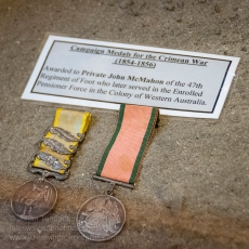 Campaign medals for the Crimean War (1854-56) awarded to Private John McMahon of the 47th Regiment of Foot who later became one of the Pensioner Guards in the Colony of Western Australia. Photo: Julian Tennant