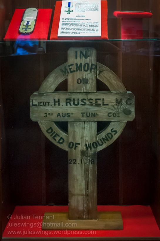 Grave marker and Military Cross of Lt. Hugh Russel, 3rd Australian Tunneling Company Australian Engineers who died of wounds on 22 January 1918. Photo: Julian Tennant