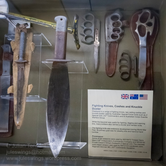 Fighting Knives and Knuckle Duster used by Australian Special Forces Units such as Z Special Unit, 2/2md Commando and III Australian Corps Guerilla Warfare Group. Photo: Julian Tennant