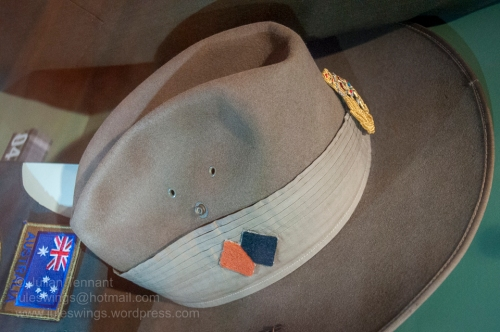 """Hat Khaki Fur Felt (better known as a """"slouch hat"""") worn by Major General Ken Taylor AO when Honorary Colonel of the Pilbra Regiment. Photo: Julian Tennant"""