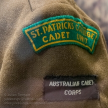 Insignia detail of St Patricks College Cadet Unit c1965. Photo: Julian Tennant