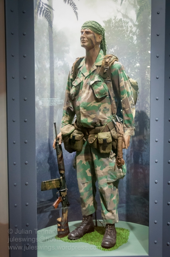 Australian Special Air Service Regiment (SASR) trooper Vietnam, circa 1969. Note the in-country 'chopped-down' L1A1 SLR rifle. Photo: Julian Tennant