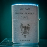 Zippo lighter given to Sgt. Kim Pember of 2 SAS Squadron (Australian Special Air Service Regiment) after the squadron completed its second tour in Vietnam. Photo: Julian Tennant