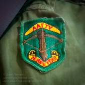 Japanese made Australian Training Team Vietnam (AATTV) patch. These patches were introduced in 1967 and the majority were made in Japan. Later, a small quantity were made locally in Vietnam, however the majority of AATTV members used this Japanese made patch. The locally made variation is extremely rare due to the small numbers manufactured and collectors should be cautious when acquiring these patches as they have been extensively copied and generally do not resemble the original 'local-made' patches. Photo: Julian Tennant