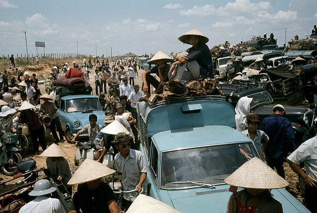 Refugees during the last days of the Vietnam War