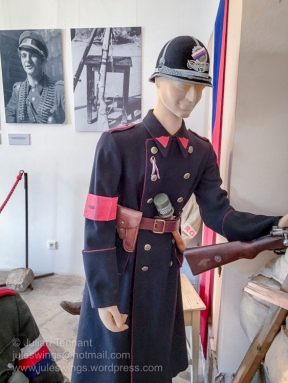 Police uniform worn during the May uprising against the Germans in 1944. Photo: Julian Tennant.