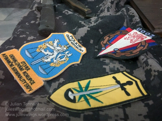 Czech police unit patches. Photo: Julian Tennant