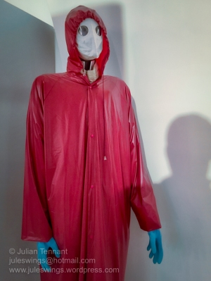 A very creepy looking protective clothing set-up in the NBC and civil defense display room. Photo: Julian Tennant