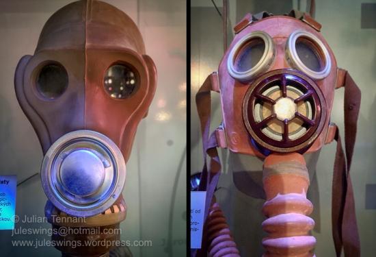 Gas masks on display in the NBC and civil defense display. Photo: Julian Tennant