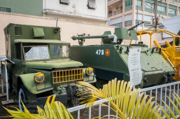 """Information"" Truck of the 23rd Information Regiment and M113 APC captured by the 7th Division during the Phuoc Long campaign in January 1975. Photo: Julian Tennant"