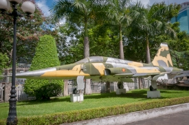 F5E fighter flown by Nguyen Thanh Trung when he defected from the South Vietnamese Air Force and bombed the Presidential Palace on 8th of April 1975. Photo: Julian Tennant