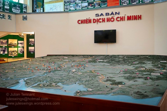 Model in the main Ho Chi Minh Campaign room on the ground floor of the museum which gives the visitor an overview of the final stages of the battle for Saigon. Photo: Julian Tennant