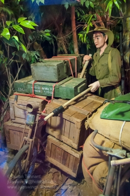 North Vietnamese Army soldier moving supplies down the trail on a modified bicycle during the Tay Nguyen (Central Highlands) campaign from March 4 until April 3 1975. Photo: Julian Tennant