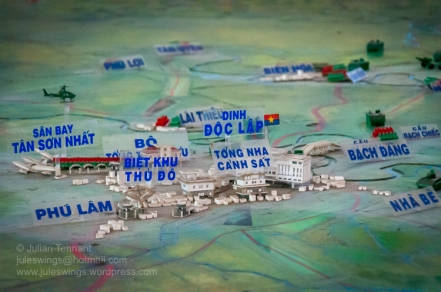 Detail of the 'mud-map' model depicting the situation around Tan Son Nhat in April 1975. Photo: Julian Tennant