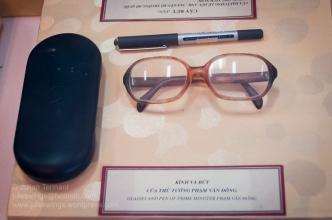 Glasses and pen of North Vietnamese Prime Minister Phạm Văn Đồng. Photo: Julian Tennant