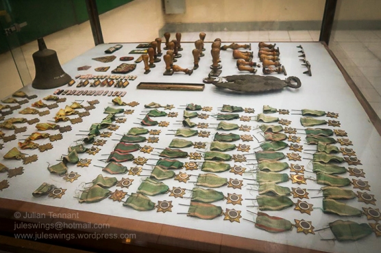 Various South Vietnamese medals, stamps and other items captured by the PAVN after the fall of Saigon. Photo: Julian Tennant