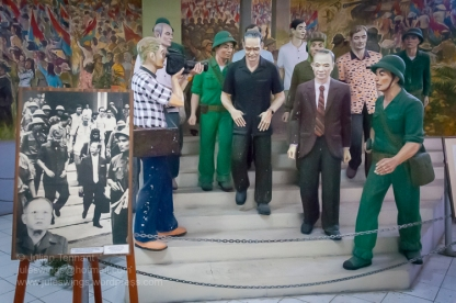 Life-size diorama depicting the surrender of President Duong Van Minh and the South Vietnamese Government on 30 April 1975. Photo: Julian Tennant