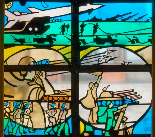 Stained glass window (detail) depicting the People's Army of Vietnam (PAVN) at the Ho Chi Minh Campaign Museum. Photo: Julian Tennant