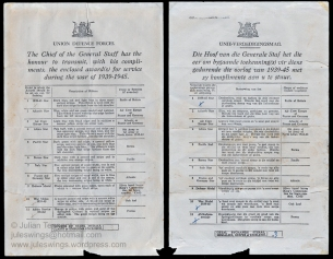 Bi-lingual South African Union Defence Forces medal entitlement document indicating the medals awarded to 151283v Far/Cpl Mervyn Tennant of the South African Veterinary Corps for his service during World War 2. Collection: Julian Tennant