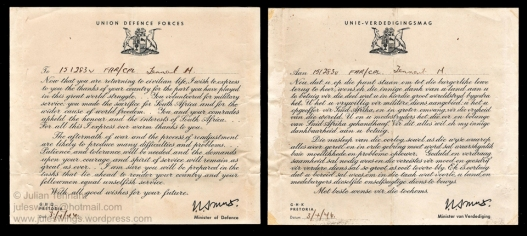 Bi-lingual South African Union Defence Forces letter of appreciation signed by General Smuts which formed part of every South African serviceman's discharge kit. Collection: Julian Tennant