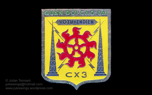 Forces Armees Cao-Daistes (FACD) Signals unit badge. Local made.