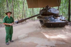 Hulk of a M41 Walker Bulldog tank destroyed by a mine during the fighting in the Cu Chi area in 1970. Photo: Julian Tennant