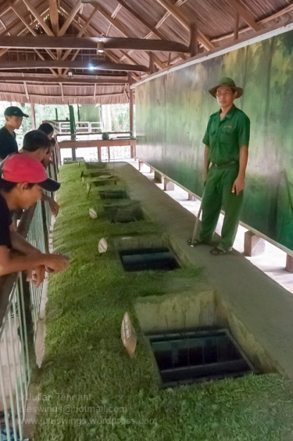 Booby trap display at the Cu Chi Tunnels theme park. Photo: Julian Tennant