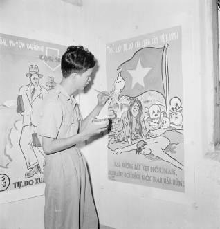 Cao Đài soldier creating anti Viet Minh propaganda at Tây Ninh Photo: Harrison Forman LIFE Magazine 1950