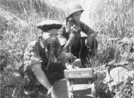 1 BPL radio operators during Operation Dampièrre in the Luang Prabang area, August to October 1953. Due to the low levels of literacy, which was reflective of the Lao population overall, which combined with different language dialects made it difficult to train specialists such as signalers and medics.