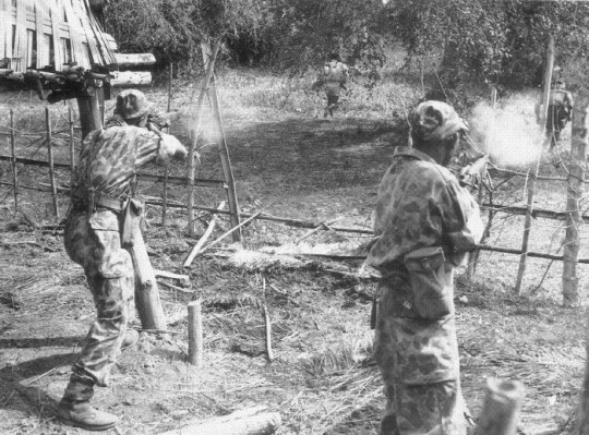 Lao parachutists of 1 BPL undertaking a public relations demonstration. Note the British 37 pattern ammunition pouches on their belts. Equipment issues for the troops of the Armée Nationale Laotiènne (ANL) including the parachute battalion was a mixture of French and British items.