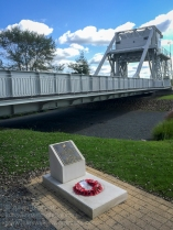 Pegasus Bridge and memorial plaque to Lieutenant H.D. Brotheridge who was the first British soldier to be killed in action on D-Day when he led his platoon across the bridge. Photo: Julian Tennant