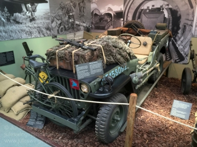 Heavily laden 6th Airborne Division jeep as transported by glider on D-Day. Photo: Julian Tennant