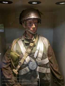 British paratrooper kitted out for the jump into France in advance of the D-Day landings. He is wearing the British X-Type parachute over the 1942 Pattern Parachutist Oversmock and Mk1 Parachutist helmet. Photo: Julian Tennant