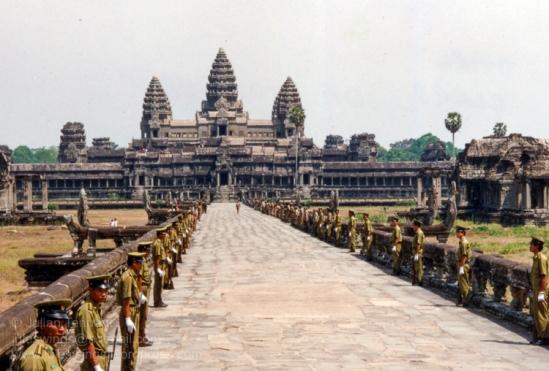 Cambodia: Angkor Wat. Parade Police guard1992