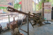 Recovered communist manufactured artillery piece on display at the Cambodia Landmine Museum.