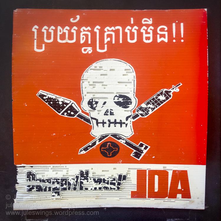 cambodia mine warning plastic core circa 1999-01