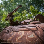 Turret detail showing the three-turreted Khmer Rouge insignia of a KR T54 tank number 22 which was destroyed at Anglong Veng in 1994. Photo: Julian Tennant