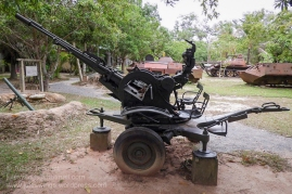 Russian ZPU-2 (or more likely a Chinese Type 58 variant) double-barreled 14.5mm anti-aircraft gun on display at the War Museum Cambodia, Siem Reap. Photo: Julian Tennant