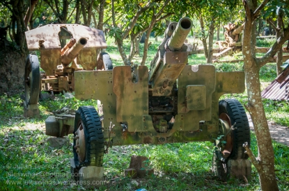 105mm American M101A1 howitzer and other artillery pieces on display at the War Museum Cambodia, Siem Reap. Photo: Julian Tennant