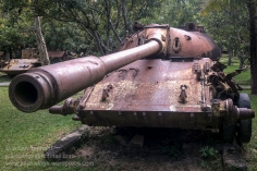 Wrecked T-55 tank on display at the War Museum Cambodia, Siem Reap. Photo: Julian Tennant