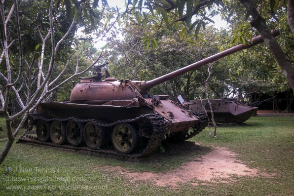 Khmer Rouge T-54 tank on display at the War Museum Cambodia, Siem Reap. Photo: Julian Tennant