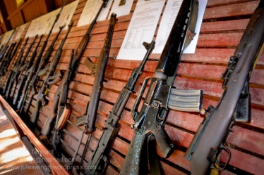 Some of the small arms on display at the War Museum Cambodia in Siem Reap. Whilst most are still in relic condition, in recent years efforts have been made to clean and better present the weapons. Photo: Julian Tennant