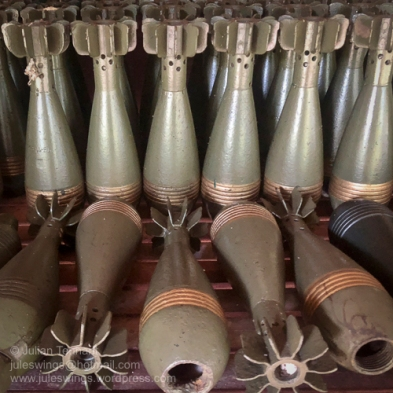 Communist 82mm Mortar rounds on display at the War Museum Cambodia, Siem Reap. Photo: Julian Tennant