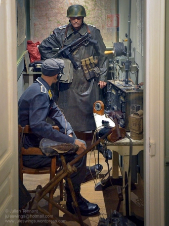 Radio room of the Fallschirmjäger Regiment 6 Regimental Command Post in the Dead Man's Corner Museum. Photo: Julian Tennant