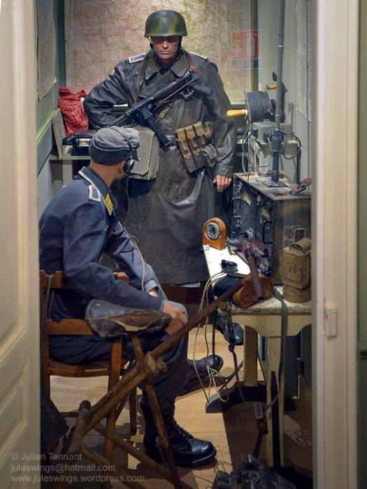 Radio room of the Fallschirmjäger Regiment 6 Regimental Command Post in the Dead Man's Corner Museum. Photo: Julian Tennant