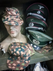 Reproduction items for sale in the 'Paratrooper' shop at the Dead Man's Corner Museum. Photo: Julian Tennant